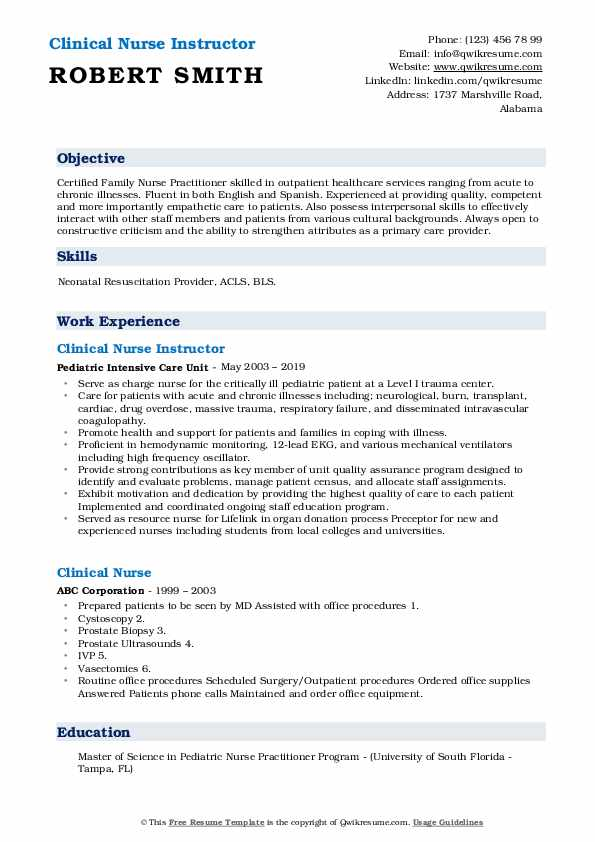 Clinical Nurse Instructor Resume Example