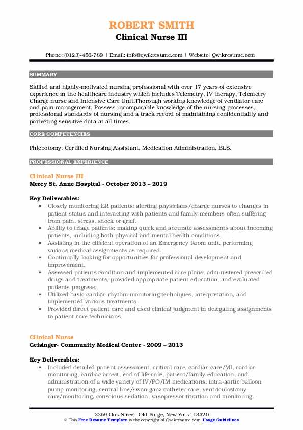 Clinical Nurse III Resume Sample