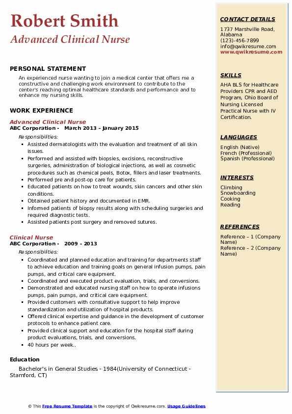 Advanced Clinical Nurse Resume Sample