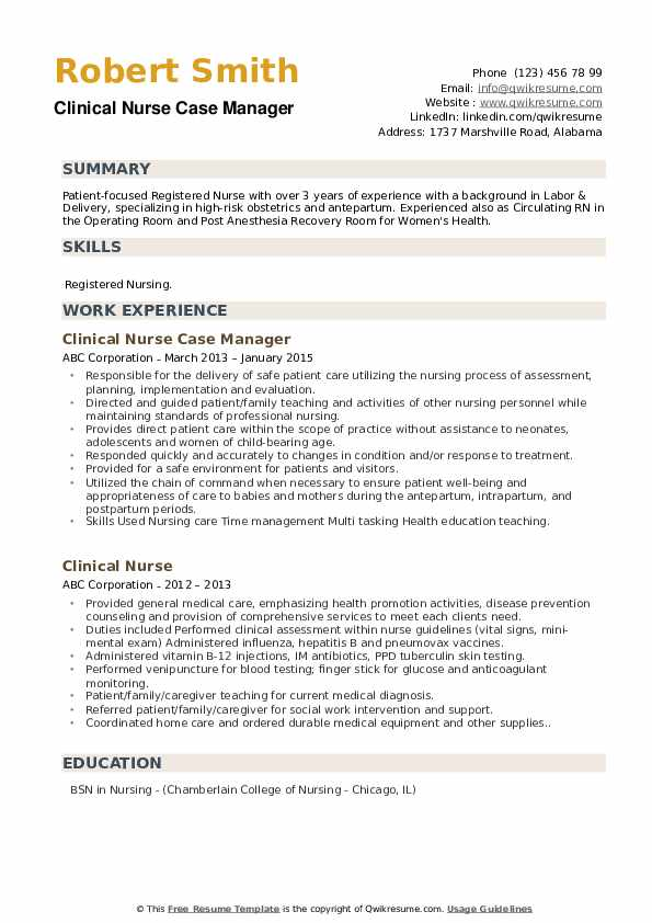 Clinical Nurse Case Manager  Resume Template