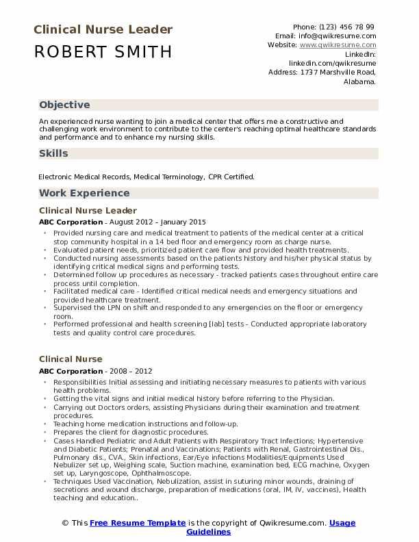 Clinical Nurse Leader Resume Model
