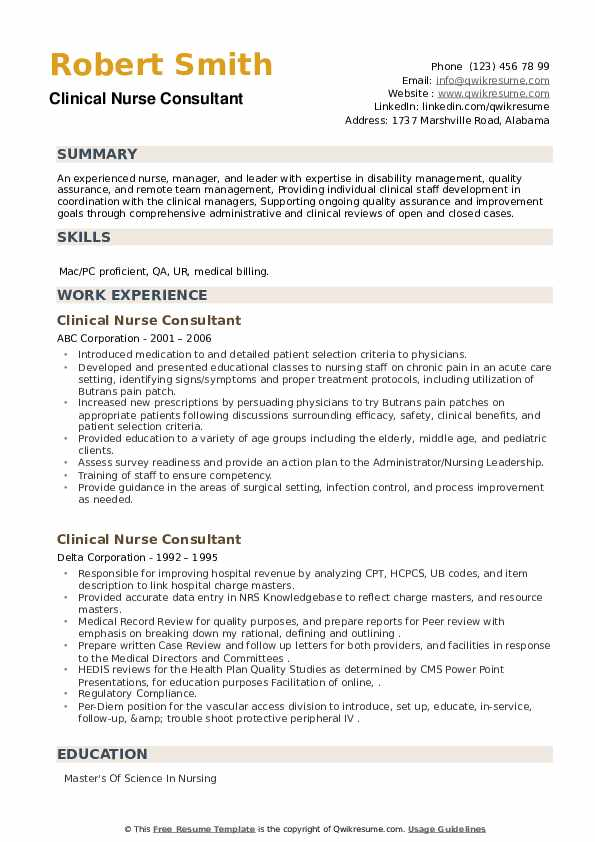 Clinical Nurse Consultant Resume example