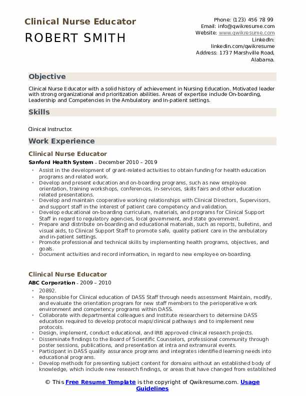 Clinical Nurse Educator Resume Template