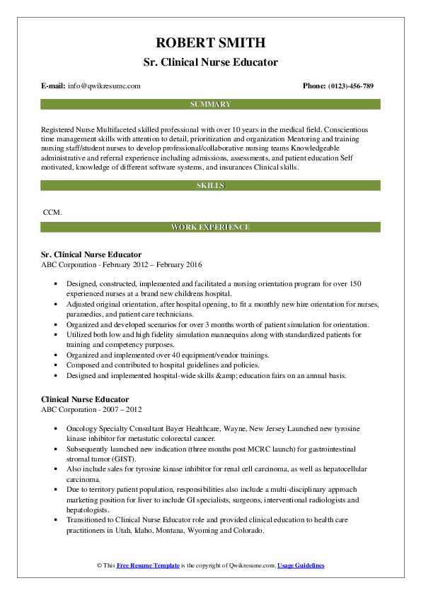 Sr. Clinical Nurse Educator Resume Format