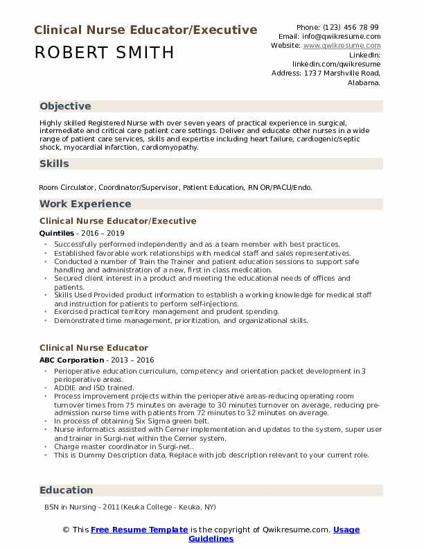Clinical Nurse Educator/Executive Resume Template