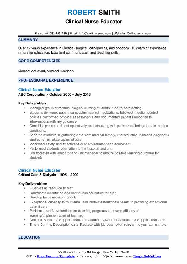 Clinical Nurse Educator Resume example