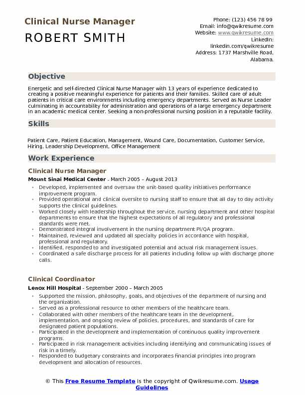 Clinical Nurse Manager Resume Model