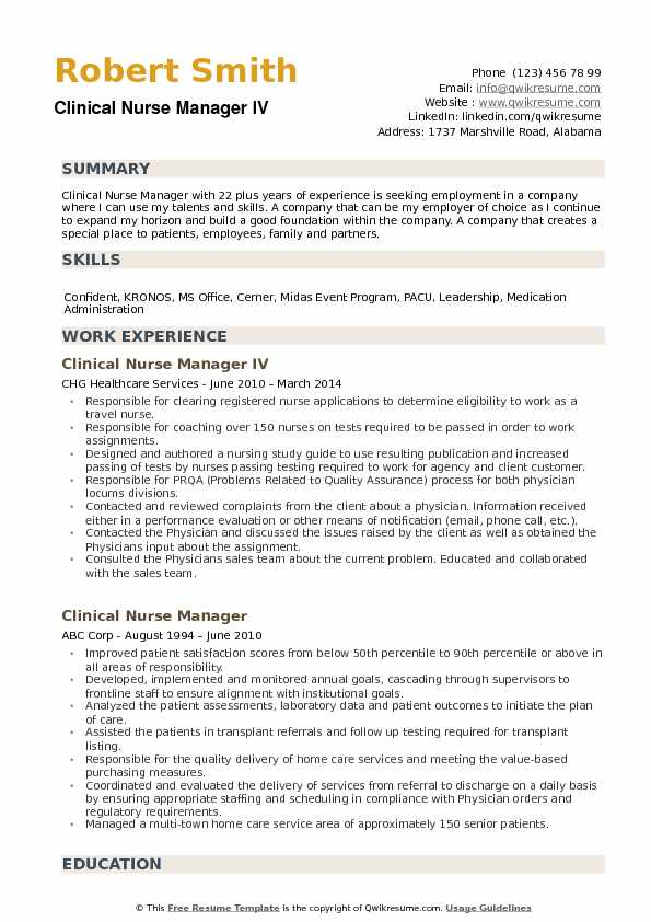Clinical Nurse Manager Resume Samples | QwikResume