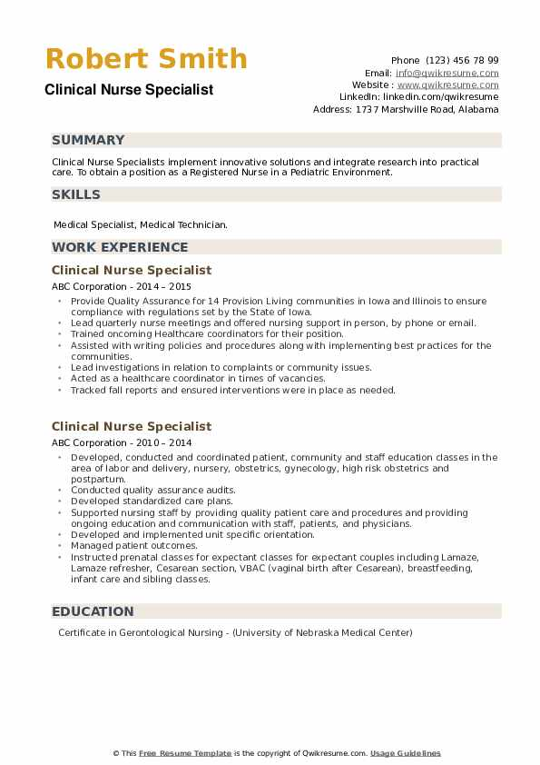 Clinical Nurse Specialist Resume example