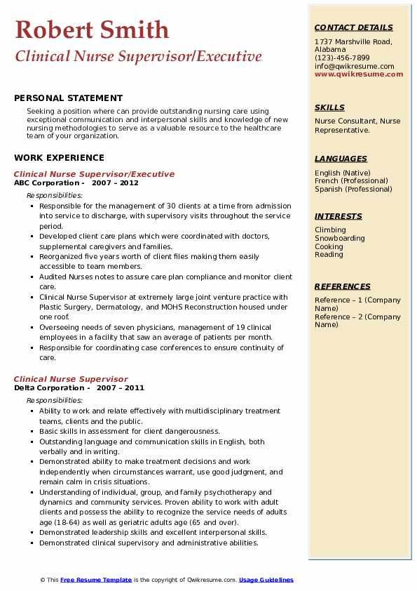 Clinical Nurse Supervisor Resume example