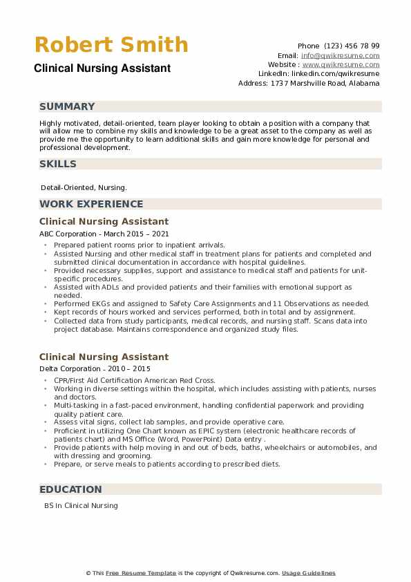 Clinical Nursing Assistant Resume example