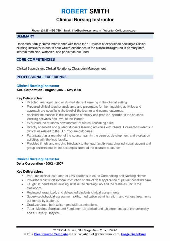 clinical nursing instructor resume samples  qwikresume