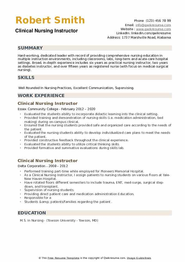Clinical Nursing Instructor Resume example