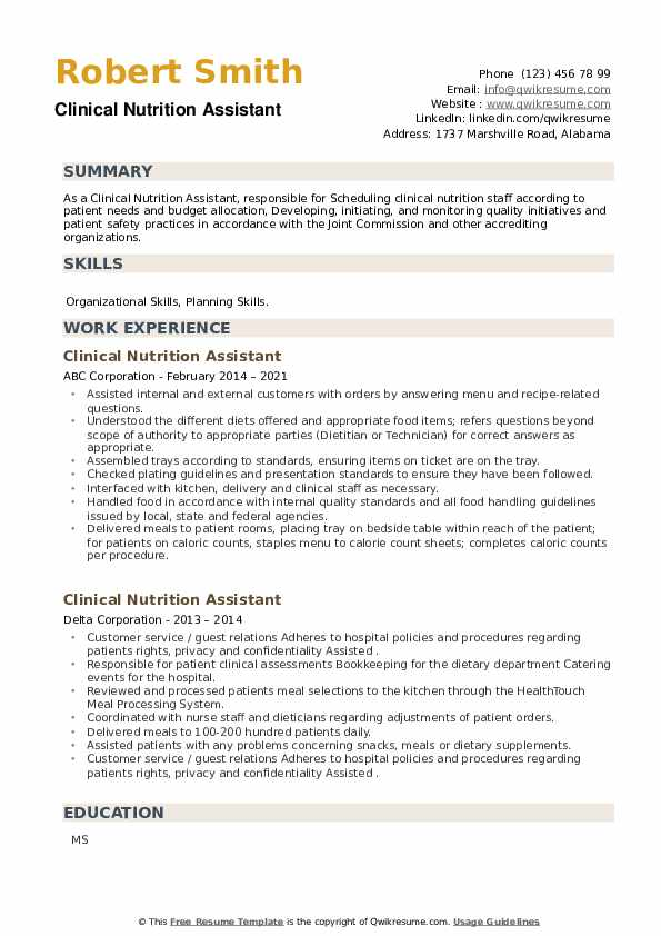 Clinical Nutrition Assistant Resume example