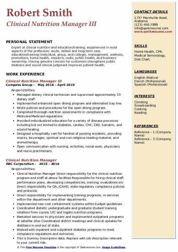 Clinical Nutrition Manager Resume Samples Qwikresume