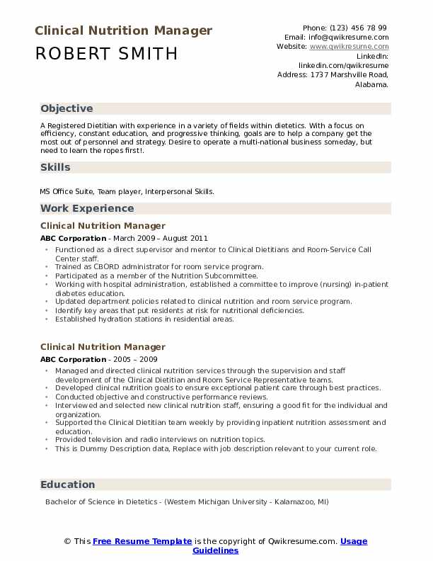 Clinical Nutrition Manager Resume example