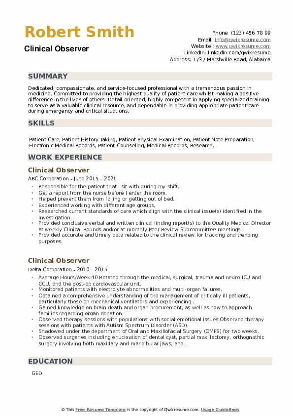 Clinical Observer Resume example