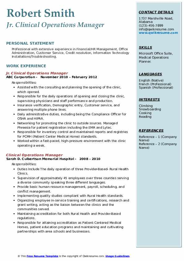 Clinical Operations Manager Resume Samples Qwikresume
