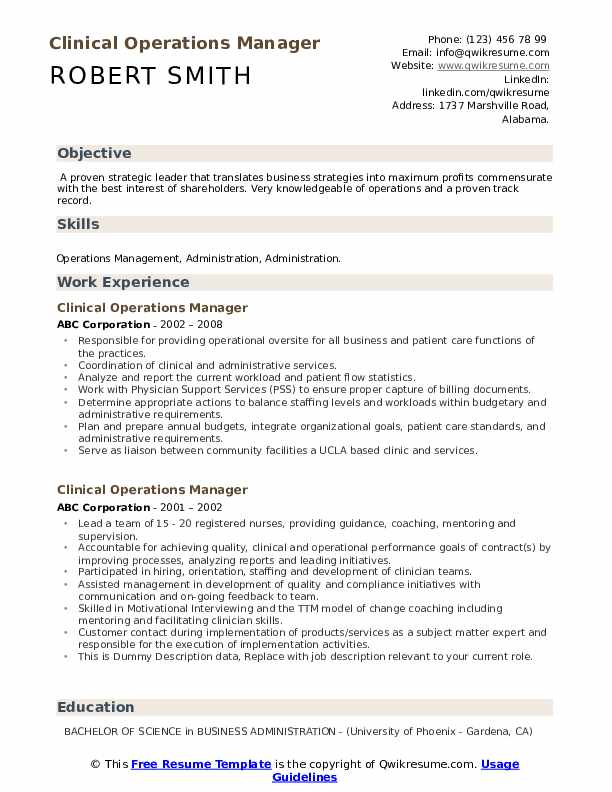 Clinical Operations Manager Resume example