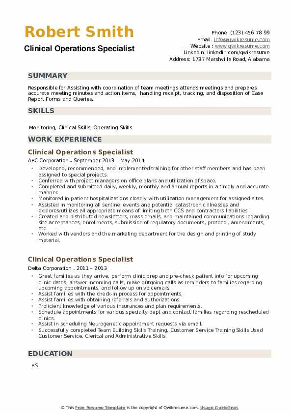 Clinical Operations Specialist Resume example
