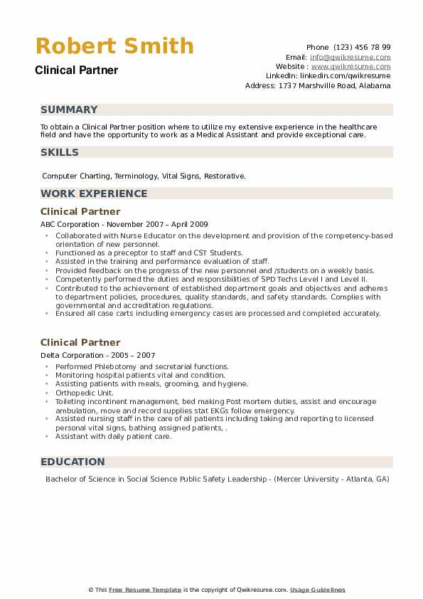 Clinical Partner Resume example