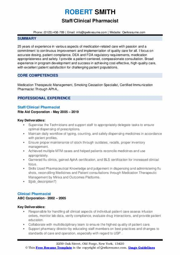 Staff/Clinical Pharmacist Resume Template
