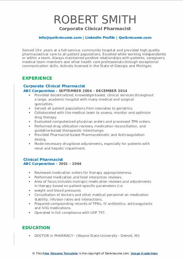 Corporate Clinical Pharmacist Resume Template