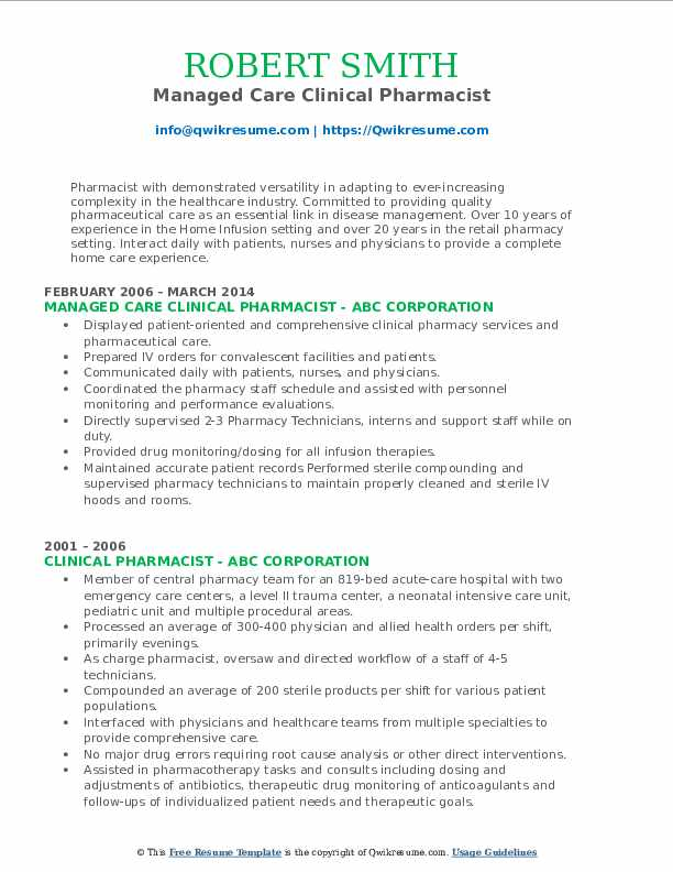 Managed Care Clinical Pharmacist Resume Template