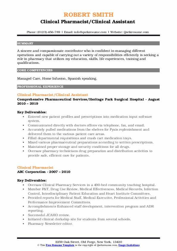 Clinical Pharmacist/Clinical Assistant  Resume Sample