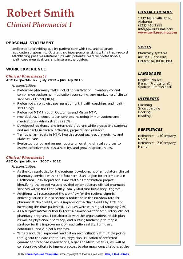 Clinical Pharmacist I Resume Sample