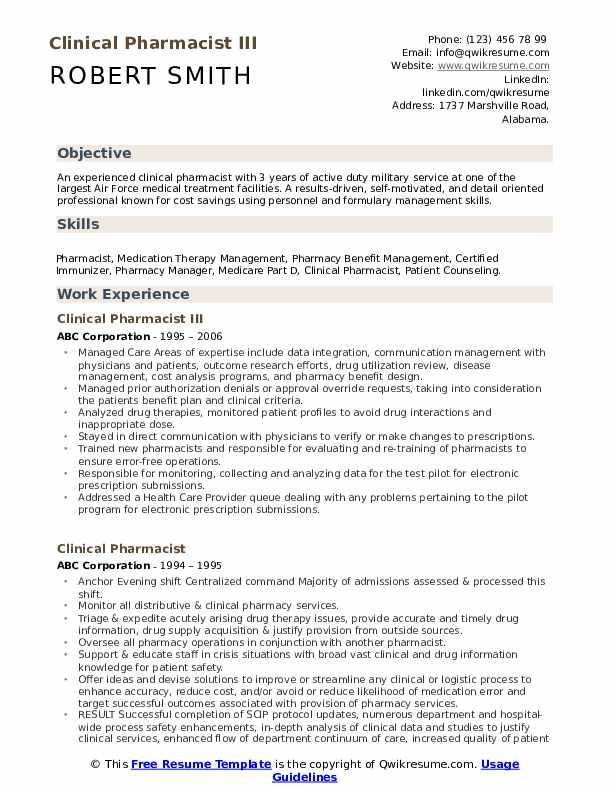 Clinical Pharmacist III Resume Format