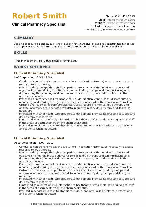 Clinical Pharmacy Specialist Resume example