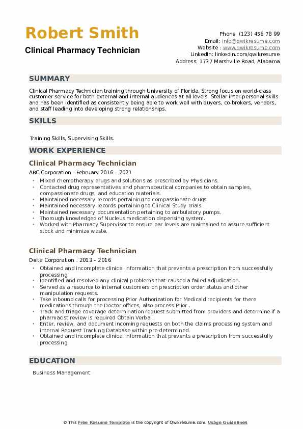 Clinical Pharmacy Technician Resume example