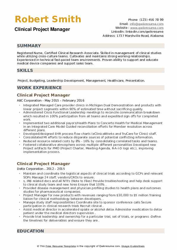 Clinical Project Manager Resume example