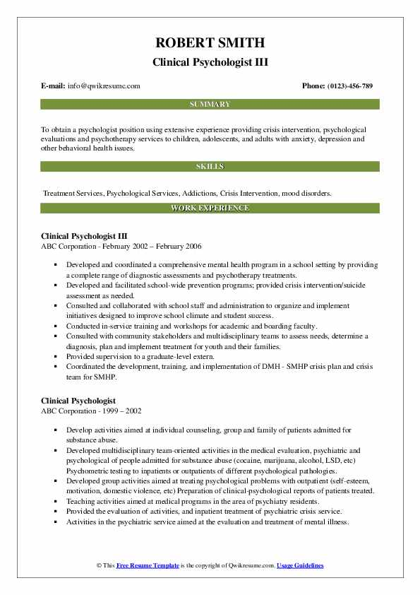 Clinical Psychologist III Resume Format