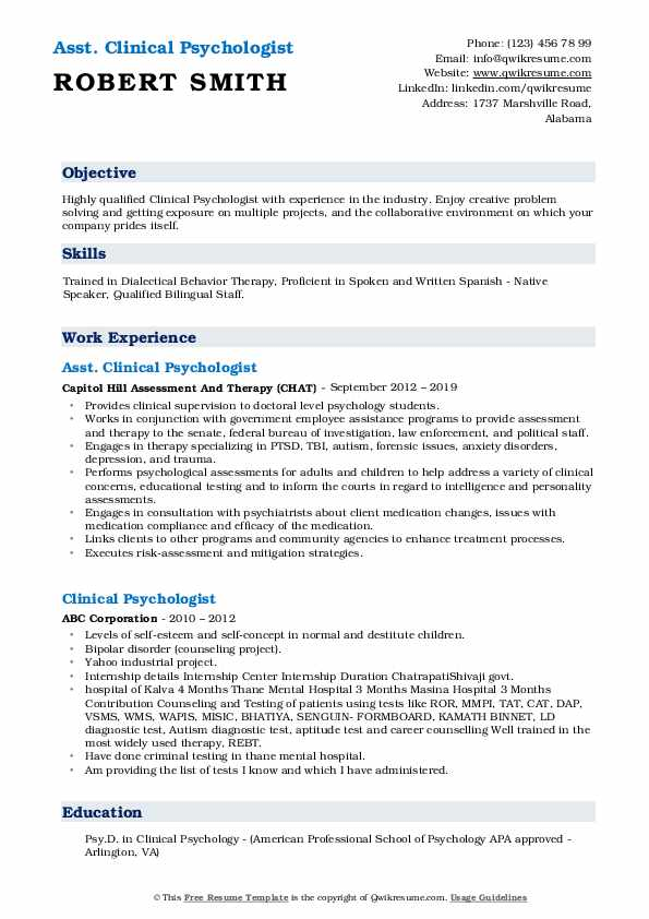 Asst. Clinical Psychologist Resume Example