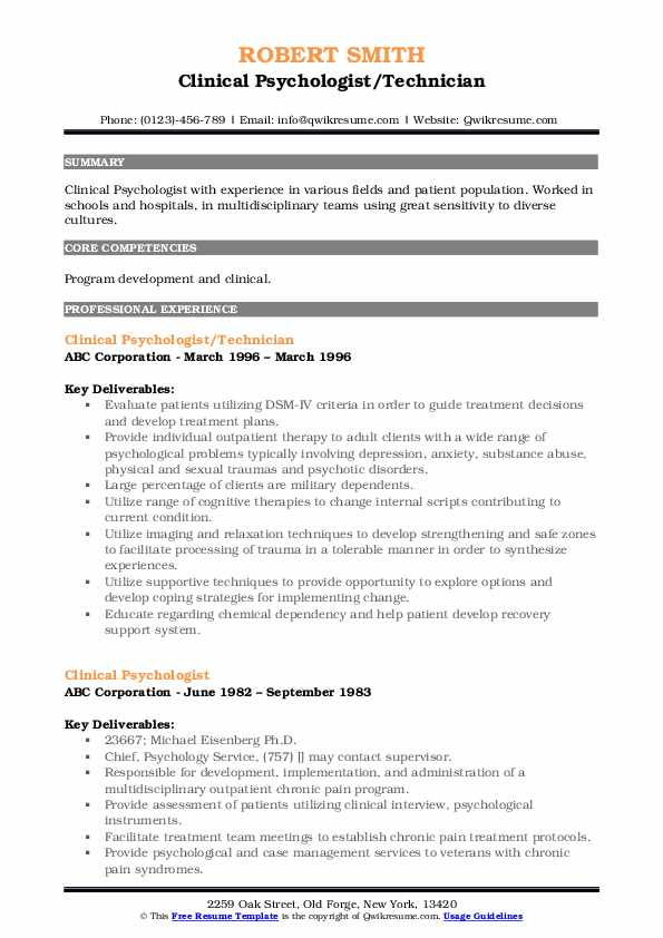 Clinical Psychologist/Technician Resume Example