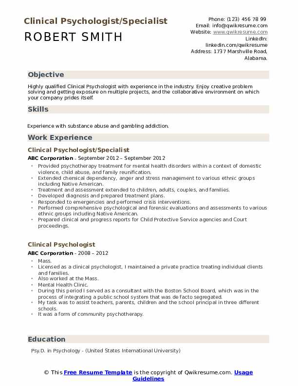Clinical Psychologist/Specialist Resume Sample