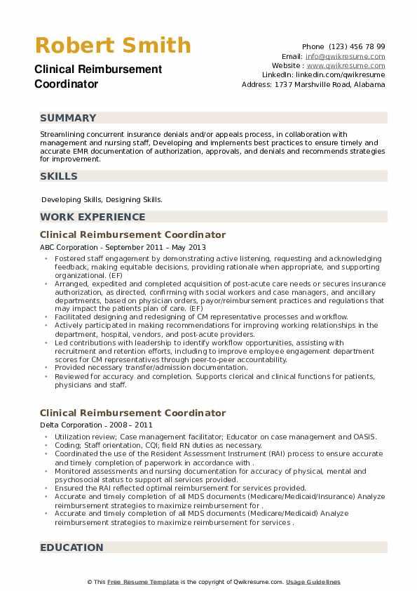 Clinical Reimbursement Coordinator Resume example