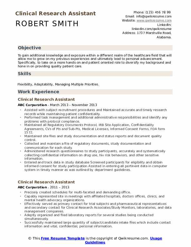 clinical research assistant resume samples
