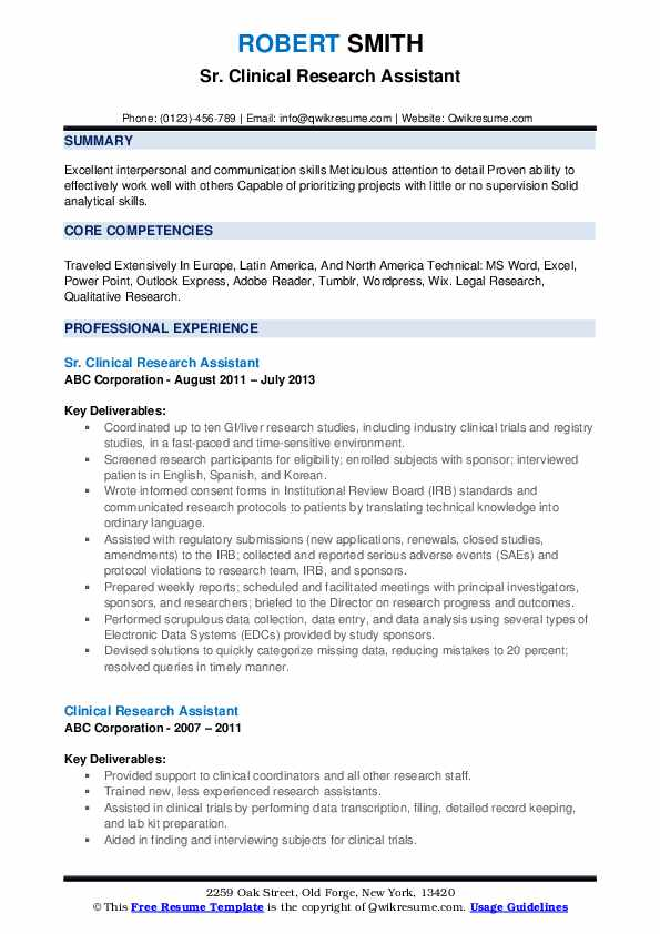 Sr. Clinical Research Assistant Resume Template