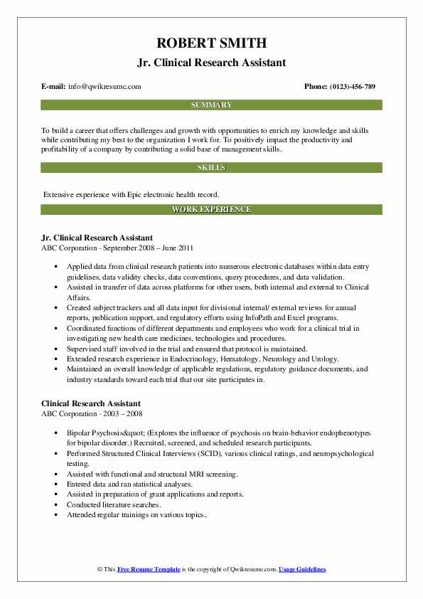 Jr. Clinical Research Assistant Resume Sample