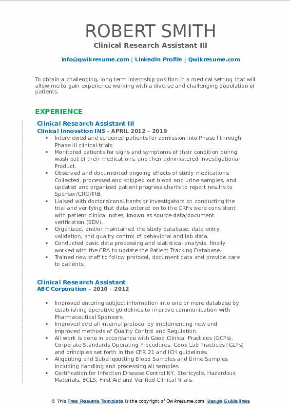 Clinical Research Assistant III Resume Example