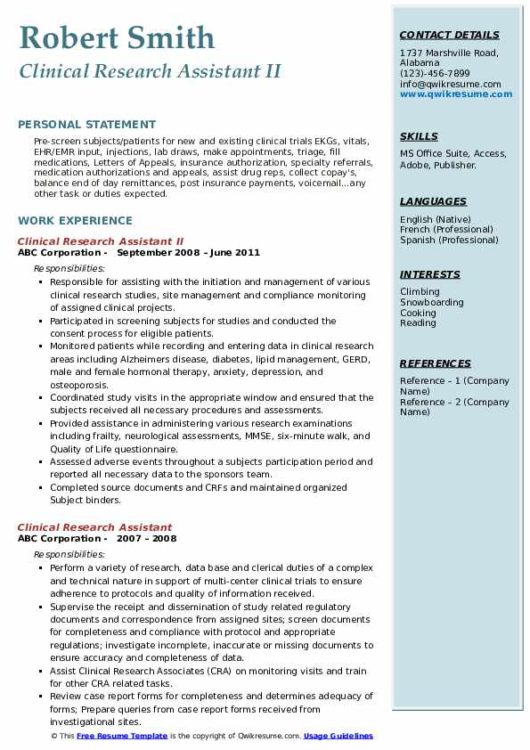 Clinical Research Assistant II Resume Format