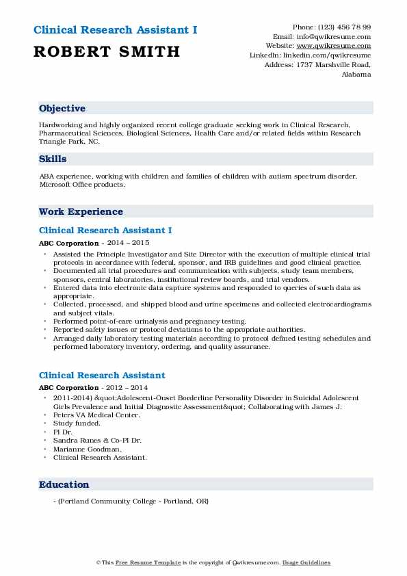 Clinical Research Assistant I Resume Sample