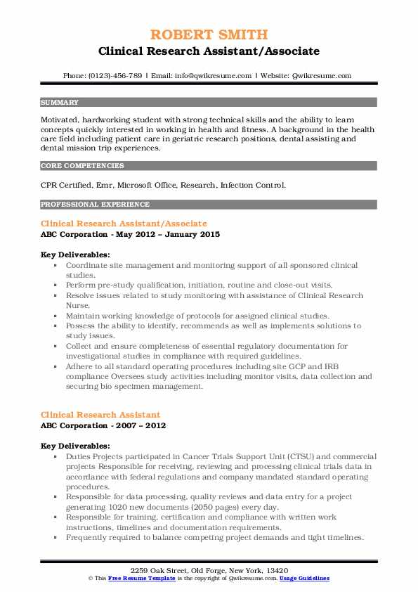 Clinical Research Assistant/Associate Resume Sample