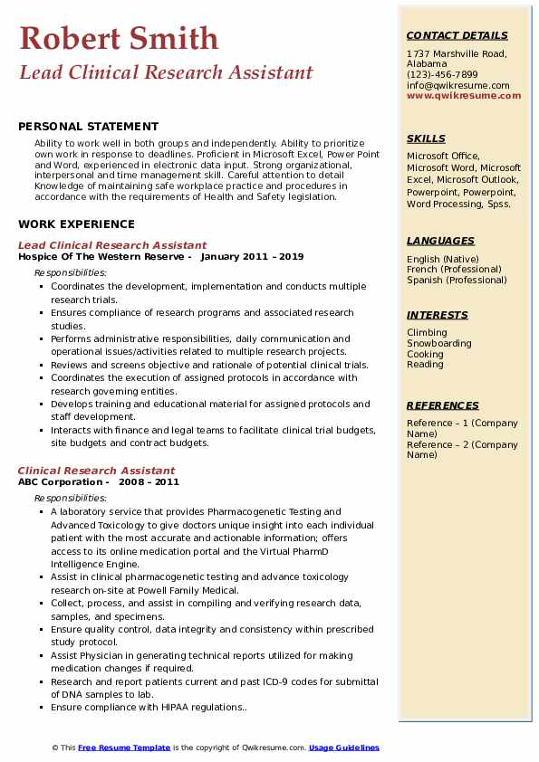 Lead Clinical Research Assistant Resume Example