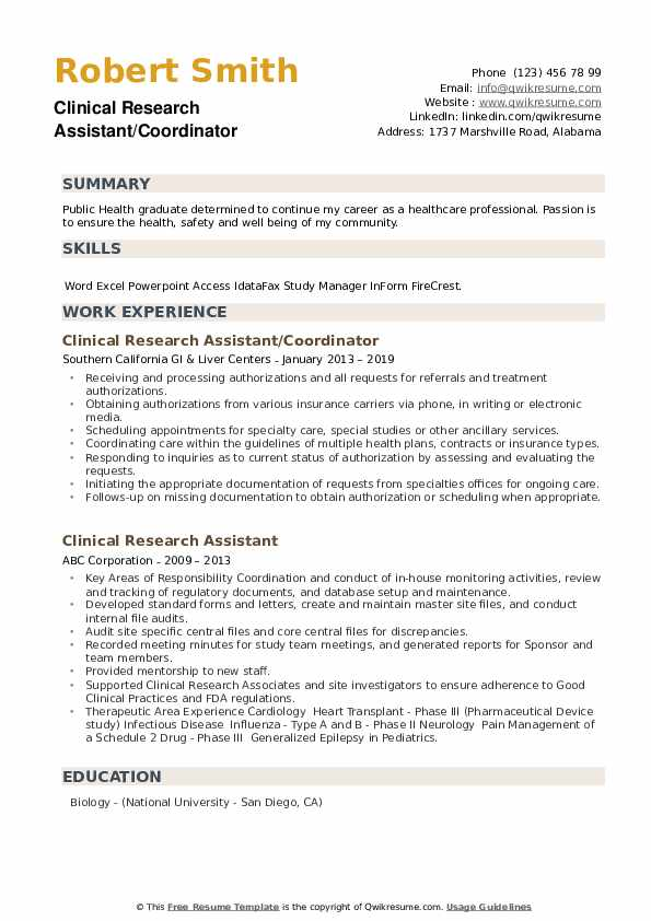 Clinical Research Assistant/Coordinator Resume Example