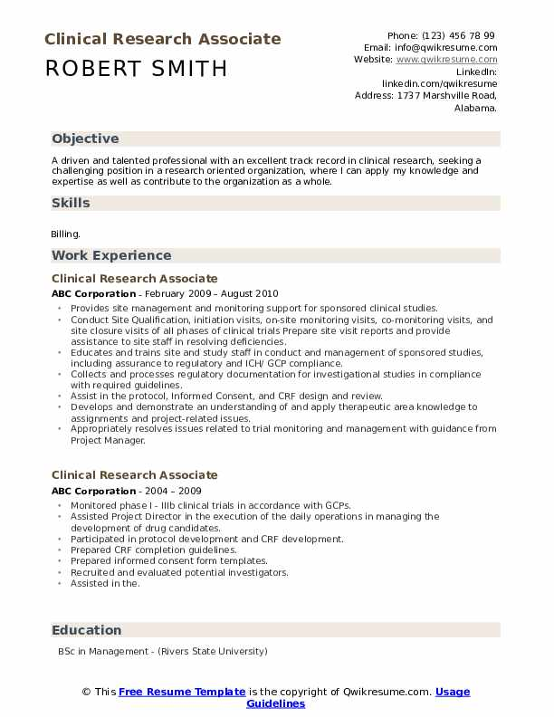 clinical research associate resume samples