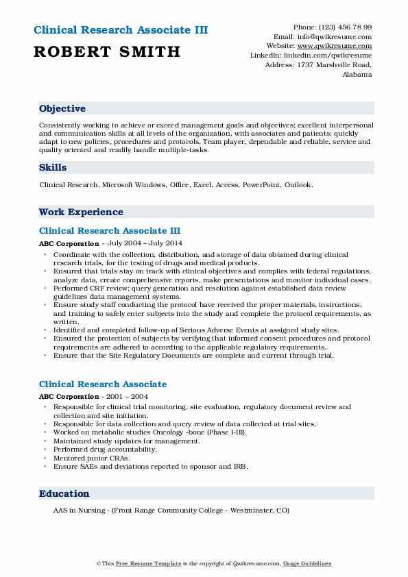 Clinical Research Associate III Resume Sample